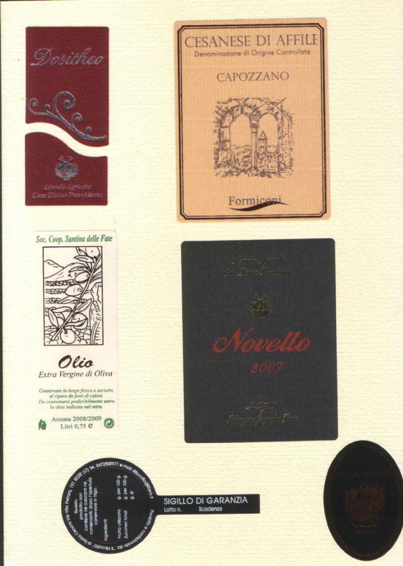 Etichette per vino, olio, conserve